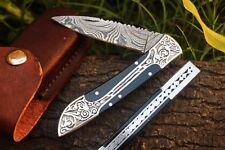 DKC-37-BH VICTORIAN Damascus Folding Pocket Knife Buffalo Horn 7.75  Long, 4.5