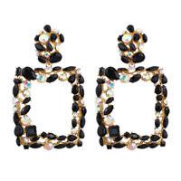 Statement Earrings For Women Large Square Crystal Big Earrings Rhinestone D L1S6