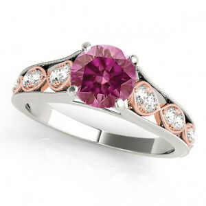 0.68 Ct Pink Diamond HPHT  Ring 3 Stone Valentine Day Special Ring 14k WG G VS2