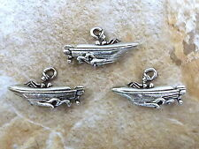 Three (3) Speed Boat Pewter Charms  -0054