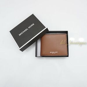 NWT Michael Kors Mens Warren Slim Billfold Wallet Leather Luggage $98 w Gift Box
