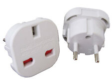 EU Travel Adapter - UK to EU Euro European adaptor White Plug 2 Pin