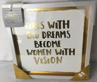 Marmont Hill Framed Wall Design Art Girl Office Girls Dreams Vision Gold  12x12