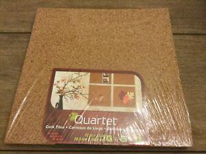 """Quartet Cork Tiles, 12"""" x 12"""", Corkboard, Mini Wall Bulletin Boards, Natural, 4"""