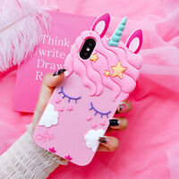 3D Cute Cartoon Unicorn Rubber Silicone Case Cover for iPhone 6 6s 7 8 Plus 10 X