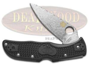 David Yellowhorse Spyderco Endela Lockback Knife Hammered Steel VG-10 Black FRN