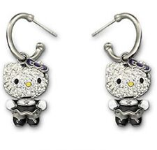 Swarovski 3D Hello Kitty Gothic Pierced Earrings Japanese Cat Crystal - 1145268