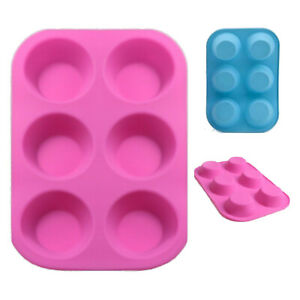 Silicone 6 Mould Cupcake/Muffin/Bun/Cake/Cookie Tray Jelly Cupcake Baking Kids