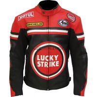 LUCKY STRIKE Racing Red Black Motorbike Motorcycle Armoured Leather Biker Jacket