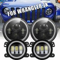 """2007-2017 For Jeep Wrangler JK Halo 7"""" LED Headlights + Halo LED Fog Lights Kit"""