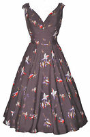 Ladies 1940's 1950's Vintage Style Grey Bird Print Full Circle Swing Tea Dress
