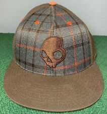 Skullcandy Plaid Fitted Hat Orange and Brown Sz. 7 1/4 To 7 5/8