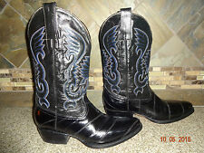 Mens Vaquero Houston D Caro Sz 27 US 8 Black Eel Skin Cowboy Boots Mexico