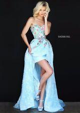 Sherri Hill 50966 Light Blue Multi Lace Hi Lo Pageant Gala Gown Dress sz 2