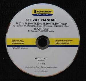 NEW HOLLAND T8.275 T8.300 T8.330 T8.360 T8.390 T8.420 TRACTOR REPAIR MANUAL CD