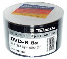 RITEK 50 SPINDLE PACK BLANK DVD DISCS DVD-R FULL FACE INKJET PRINTABLE 8X 4.7GB