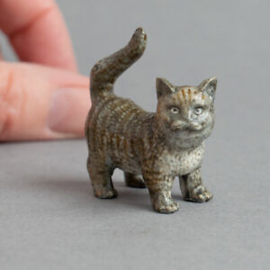 Vintage COLD PAINTED BRONZE Miniature PUSSY CAT Grey Tabby KITTY Kitten SIGNED