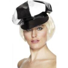 Accessorio costume Carnevale Cappello Berretto Pvc Bianco Nero *10239