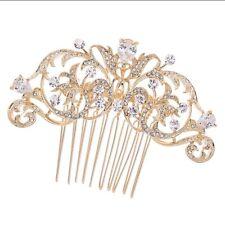 Bridal Wedding Clear Austrian Crystal Gold Flower Hair Clip Comb Head Piece