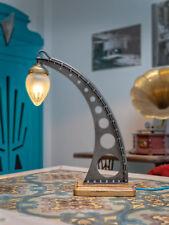 Schreibtischlampe Tischlampe Industriedesign Jugendstil Glasschirm rotes Kabel