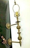 "ANTIQUE Electric Wall Plug In Light Sconce Ornate Brass 24"" tall Hard to find"