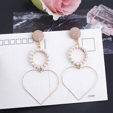 Temperament Long Love Heart Pearl Drop Earrings Women Girls Korea Style Jewelry