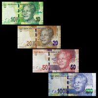 South Africa Set 4 PCS, 10 20 50 100 Rand, ND(2013), Mandela Circulated, UNC