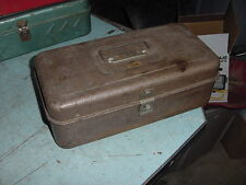 Vintage Tin Fishing Tackle Box Tool 13 1/2x 7 x4 1/2 Chippy Brown Paint Shabby