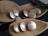 10 X SOLID SILVER DANISH NORWAY COIN BUTTONS 1700s VERY RARE! DENMARK FOLK ART!!