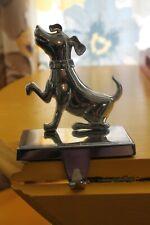Silver Dog Christmas Stocking Holder Hanger