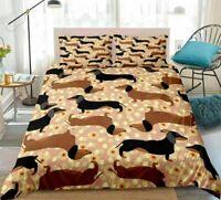 3D Dachshund Sausage Dog Bedding Doona Duvet Cover Pillow Case Comforter Cover