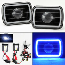 "7X6"" 10K HID Xenon H4 Black Projector Glass CCFL Blue Halo Headlight Pair Plym"