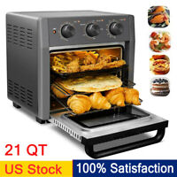 21 QT Air Fryer Toaster Oven 5-IN-1 Convection Toaster Oven Stainless Steel US