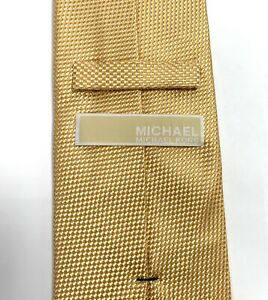 Michael Kors Yellow 100 Percent Silk Neck Tie 60 inch Long 2.75 Inch At Widest