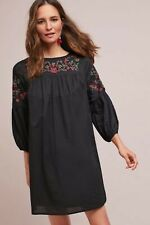 Anthropologie By Allison Skylar Black w/ Red Floral Embroidery Dress Large