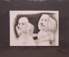 Two Poodles by Bill Crowley original graphite portrait of two little lap dogs