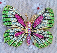 High Style BUTTERFLY Rhinestone Green Pink Vintage Inspired Style Brooch