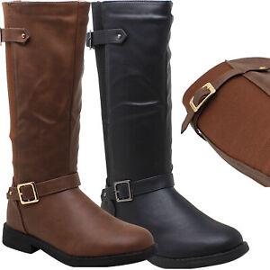 Kids Girls Boots Mid-Calf Knee-High Low Heels Zip Close Riding Elastics Back
