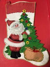 Completed 14 In Bucilla Santa Tree Gift Bag Felt Christmas stocking Homemade