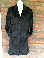 Vintage Long Teddy Bear Coat Black Fur Shoulder Pads Georgiou Studio Size 8 VTG