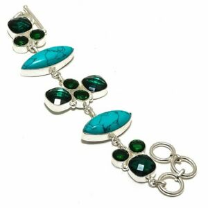 "Tibetan Turquoise & Chrome Diopside 925 Sterling Silver Bracelet 7.99"" B-7061"
