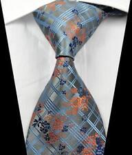 New Classic Checks Silver Blue Orange JACQUARD WOVEN 100% Silk Men's Tie Necktie