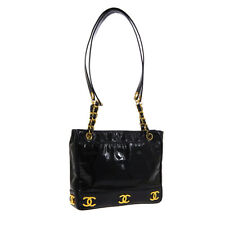 CHANEL Triple CC Shoulder Tote Bag Purse Black Patent Leather JT09313