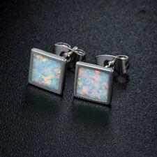 Sevil 18K White Gold Plated Created Opal Flat Stud Earrings