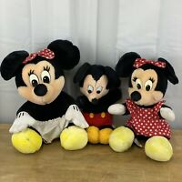 Mickey & 2x Minnie Mouse Disneyland Walt Disney World Plush Soft Toy Vintage