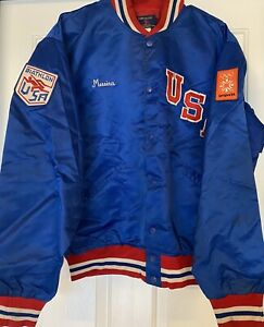 RARE! Vintage USA 1984 Sarajevo Winter Olympics Jacket BIATHLON Shooting NAMED
