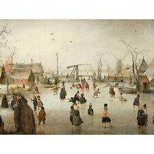 Avercamp Iceskating In A Village Painting Large Wall Art Print 18X24 In