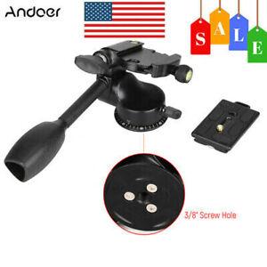 "Tripod Action Fluid Drag Head Video Camera 1/4""Ballhead Quick Release Plate DSLR"