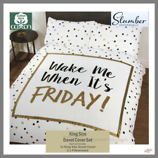 NEW Wake Me When It's Friday KINGSIZE Bed Gold Polka Dot Duvet Cover 50% Cotton