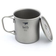 KEITH 500ml Titanium Water Cup  Picnic Camping Cookware Hiking Titanium Mug